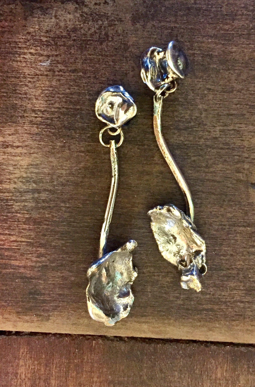 Sterling Silver Water Cast Flower Stem Post Earrings