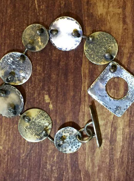 Sterling Silver Pounded Circle Link Bracelet