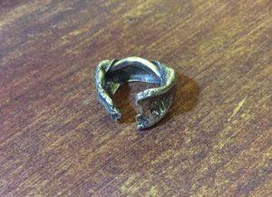 Sterling Silver Hydraulic Press Cuff Ring