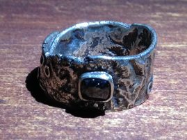 Sterling Silver & Black Diamond Reticulated & Riveted Wrap Ring