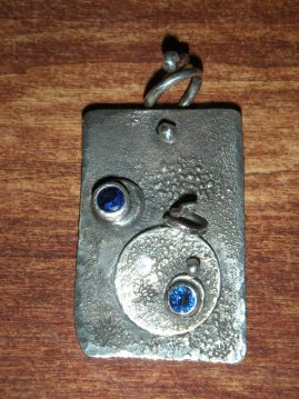Sterling Silver Blue Sapphire Mommy - Daughter Pendants