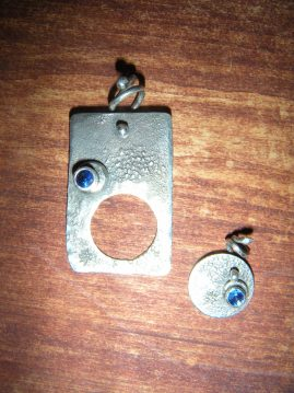 Sterling Silver Blue Sapphire Mommy - Daughter Pendants Separated