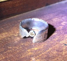 Sterling Silver Champagne Diamond Charcoal Cast ring