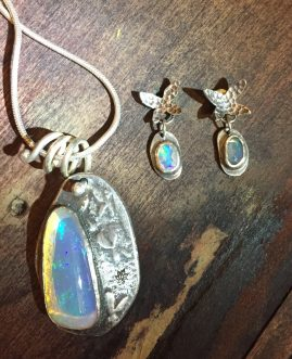 Sterling Silver Opal Butterfly Earrings & Pendant