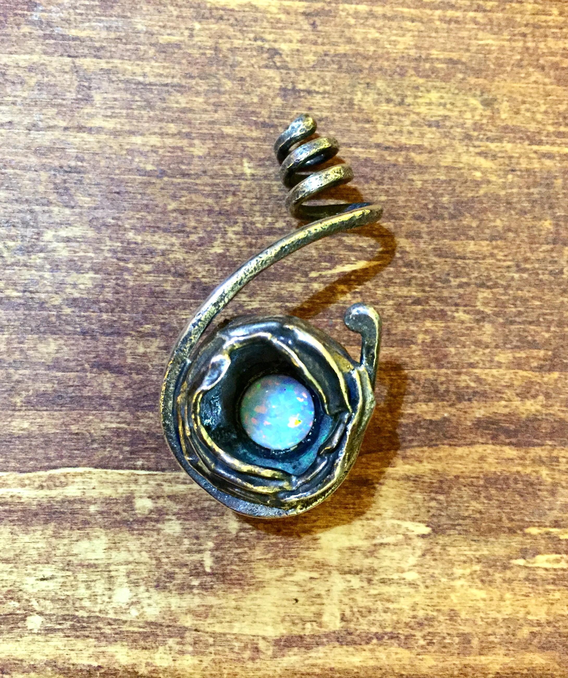 Sterling silver water cast opal pendant aloadofball Gallery